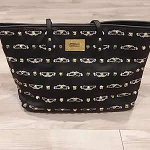 NWOT Betsey Johnson Black and Gold Large Tote
